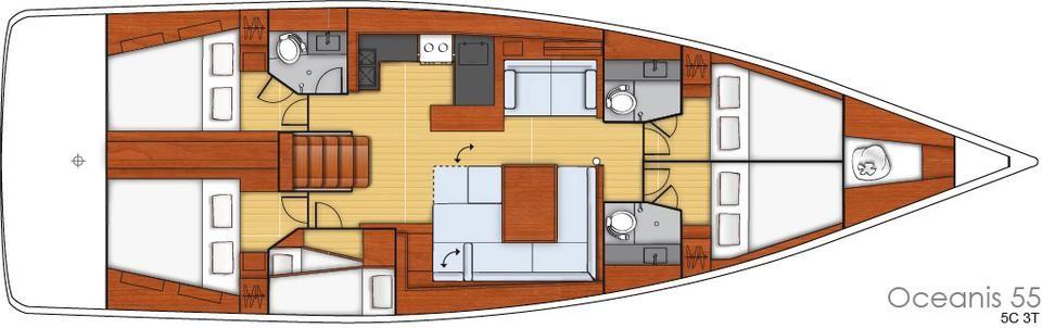 Oceanis 55 / 5 Kabinen