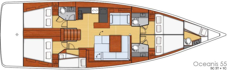 Oceanis 55 / 5 Kabinen mit Skipper