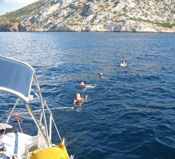 Badestop auf dem Rückweg nach Athen