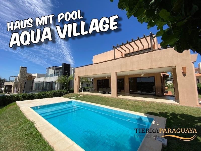 Modernes Haus mit Pool in privater Wohnanlage -Aqua Village- mit eigener Karibik-Lagune und Sandstrand im Zentrum Paraguays #221