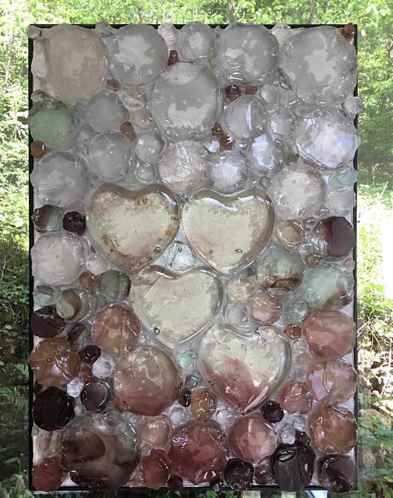 Quatre cœurs - Dalle de verre / résine 50cmx40cm