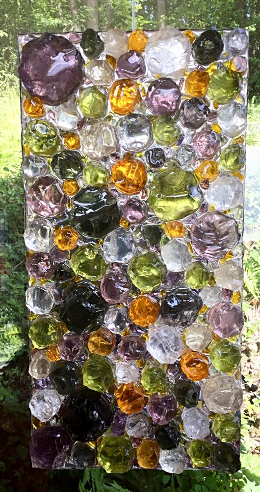 Pâquerettes et boutons d'or - Dalle de verre et résine  60cmx30cm