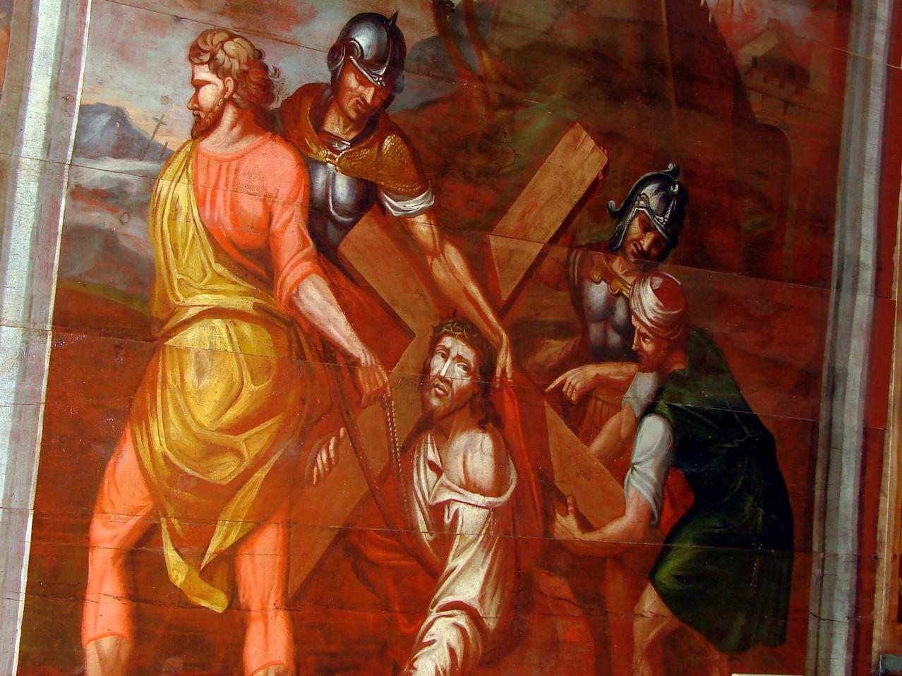 La chapelle  des Ursulines - Le Portement de croix (panneau restauré)