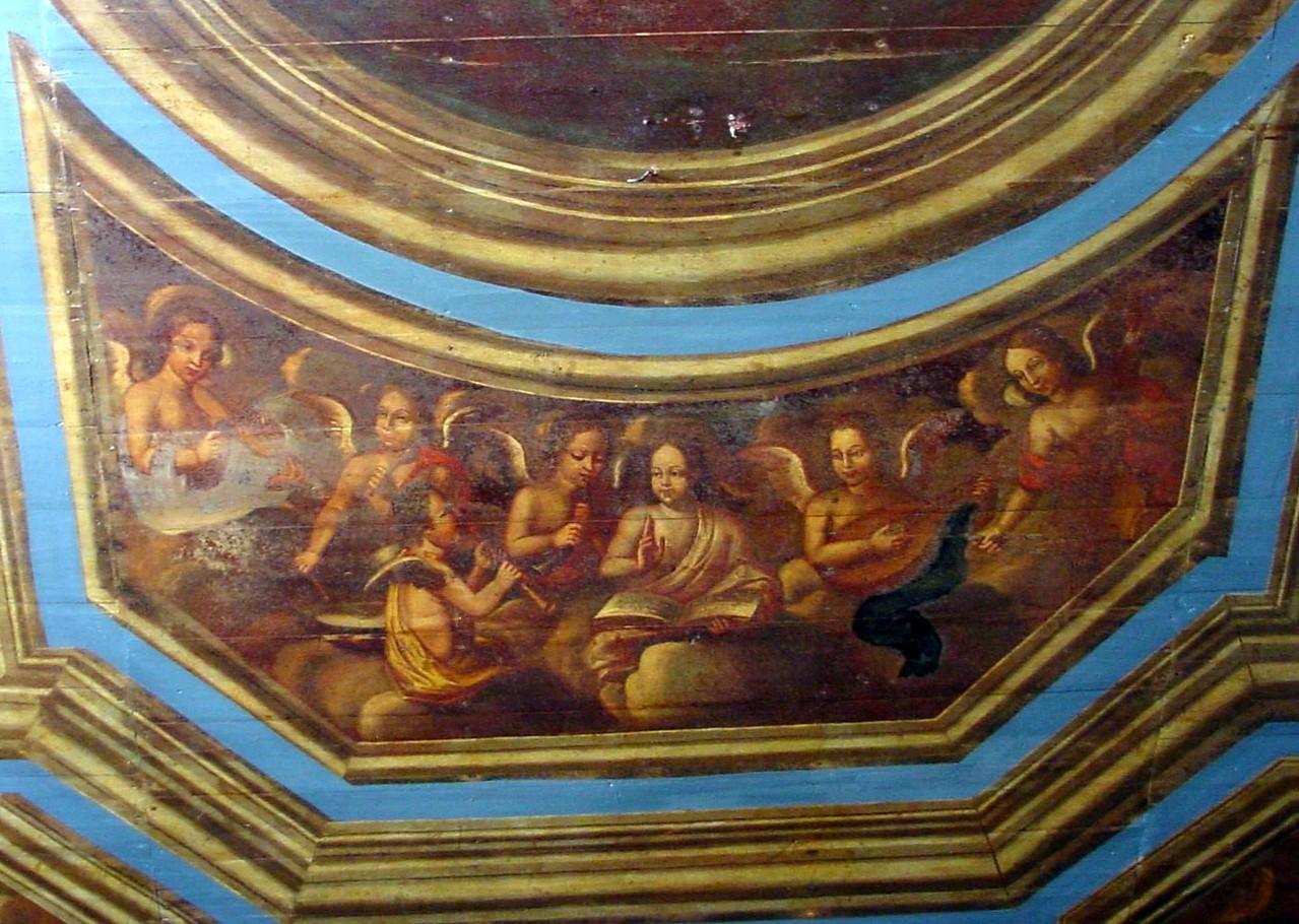 La chapelle des Ursulines  - Les Anges musiciens (panneau peint - fon XVII ème)