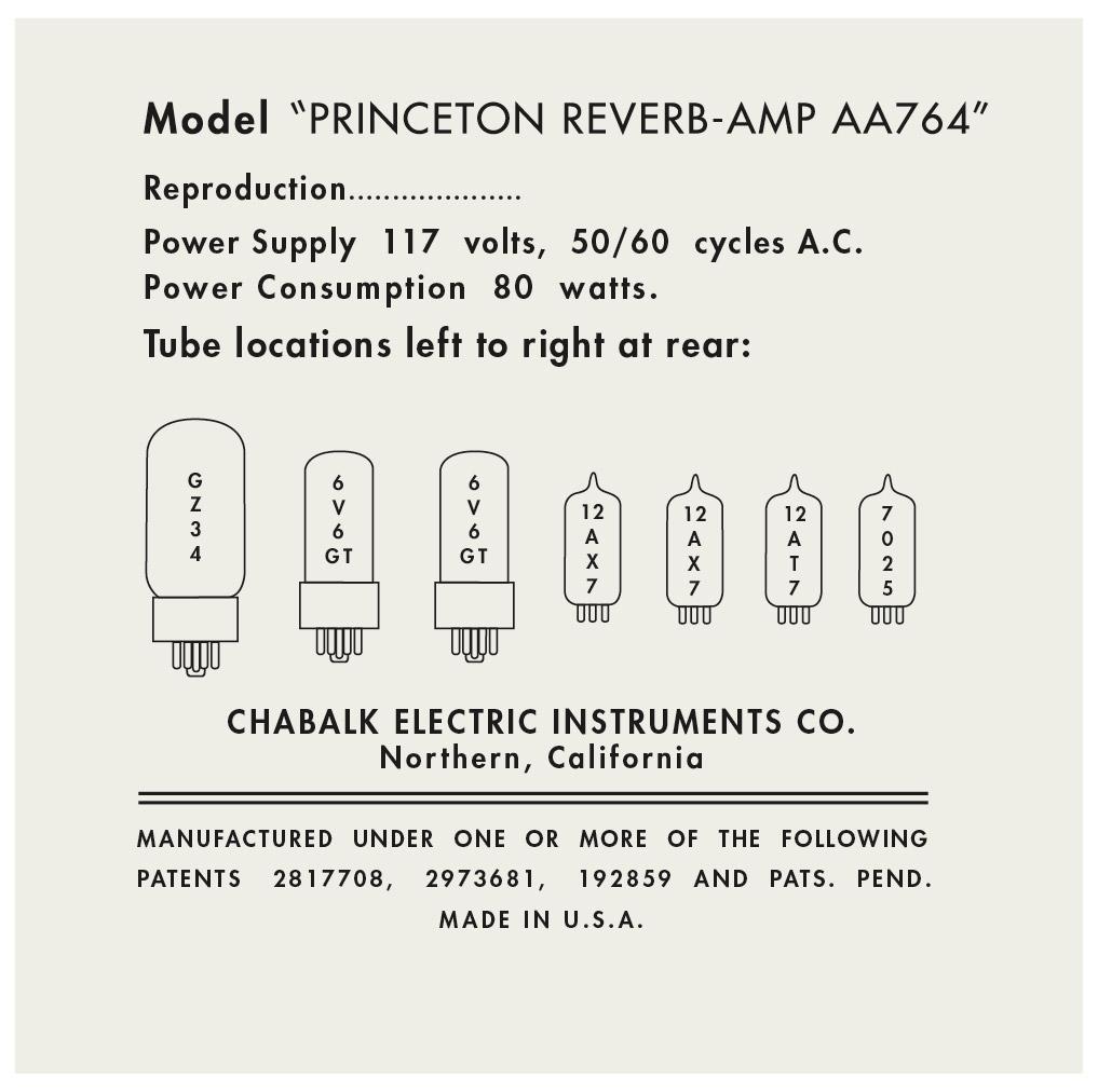 Fender tube chart Princeton