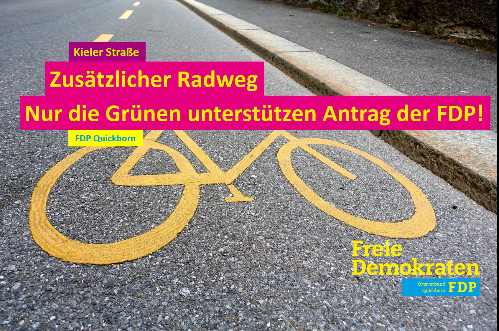 Bessere Verbindung für Fahrradverkehr entlang der Kieler Straße - Nur die Grünen unterstützen Antrag der FDP