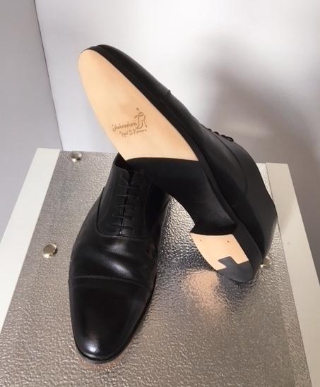 Herren Business-Schuh Leder schwarz, aufgearbeitetes Obermaterial und neue Sohle mit Absatz