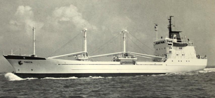 Die Turicia wurde 1978 von der Büsumer Werft an die Alpina Reederei abgeliefert und kam 1987 zur Reederei Harmstorf (Quelle Harmstorf)