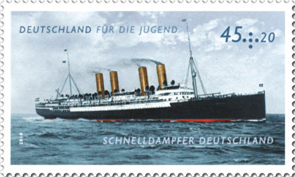 Schnelldampfer Deutschland, Briefmarke der Deutschen Post AG aus dem Jahre 2010 (Quelle Wikipedia)