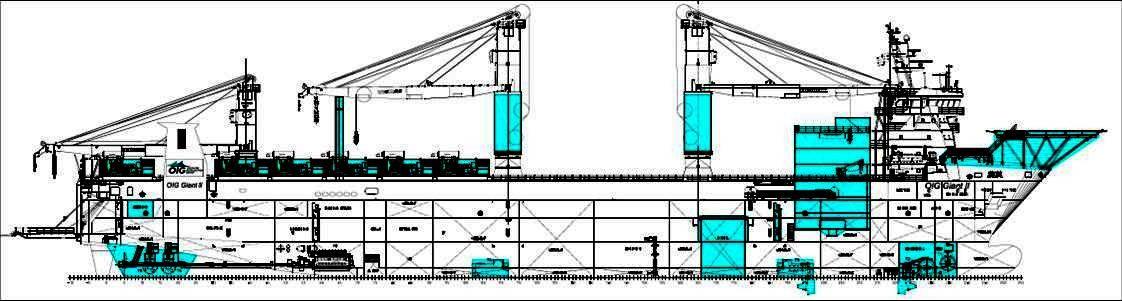 Abbildung 3: Farbig markierte Umbaumaßnahmen auf der OIG Giant II ex Combi Dock IV  (Quelle Lloyd Werft Bremerhaven)