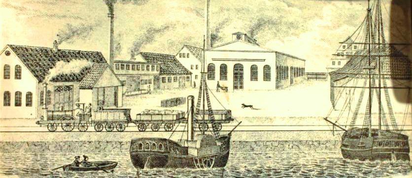 Abbildung 1: Maschinenwerkstatt und Gießerei am Kleinen Kiel um 1850 (Kieler Stadt- & Schifffahrtsmuseum)