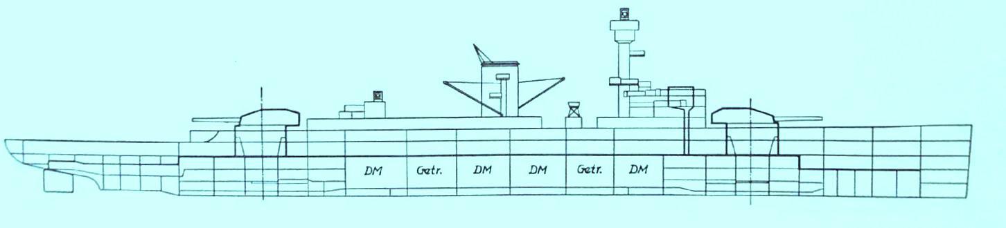 Generalplan vom Panzerschiff DEUTSCHLAND, erstes Schiff einer Klasse von drei Einheiten, die jeweils von 8 MAN-Dieselmotoren angetrieben wurden (Quelle STG).