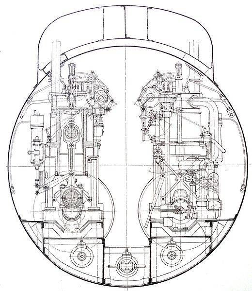 1904 Germaniawerft, 1. Entwurf mit zwei 200 PS Dieselmotoren, Viertakt-Motoren als gemeinsame Entwicklung von MAN-Augsburg und Krupp  (Quelle Wikipedia)