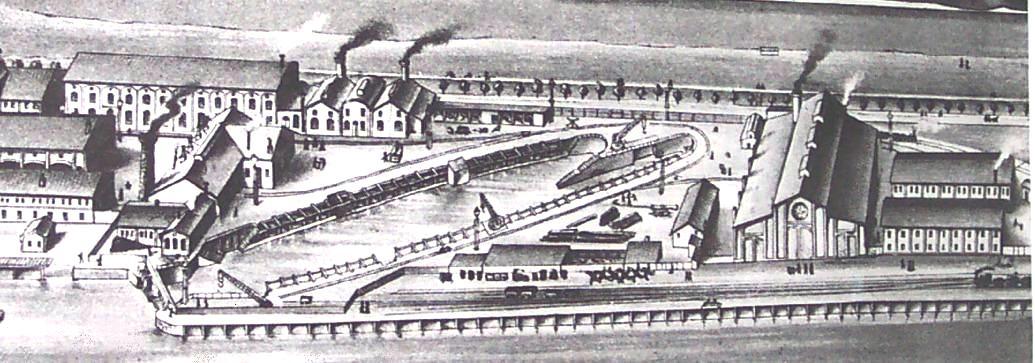 Abbildung 16: Der Technische Betrieb  (später Werftbetrieb)  des Norddeutschen Lloyd in Bremerhaven im Jahr 1882, 1872 wurde das hier abgebildete Trockendock mit 121 m Länge in Betrieb genommen (Quelle Lloydwerft)