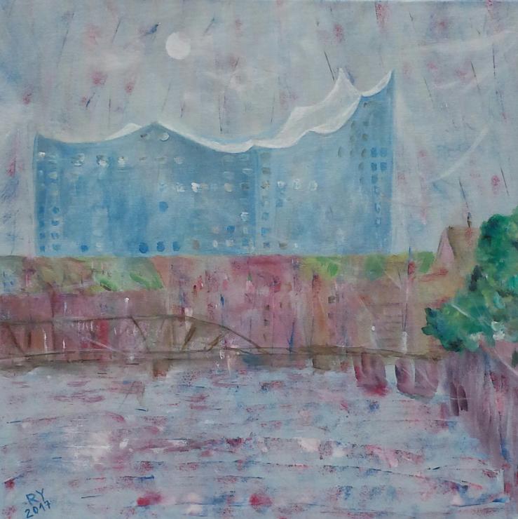 Elbphilharmonie mit Mond, 50x50, Acryl auf Leinwand