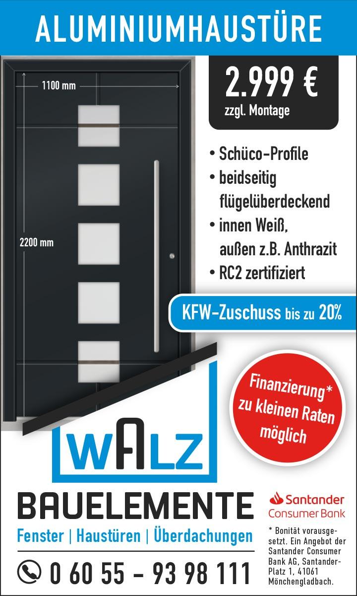 Aluminiumhaustüre mit Fingerprint zum Aktionspreis von walz-bauelemente.de