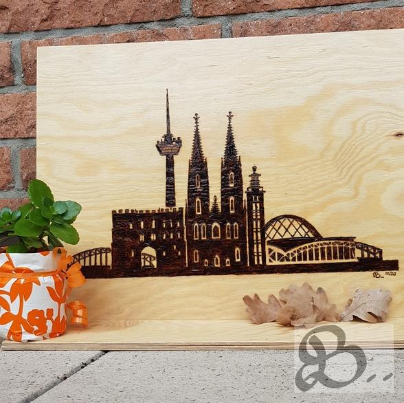 Brandmalerei - Skyline Köln - Dom, Fernsehturm & Hohenzollernbrücke