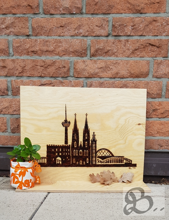 Brandmalerei - Skyline Köln Gesamtansicht
