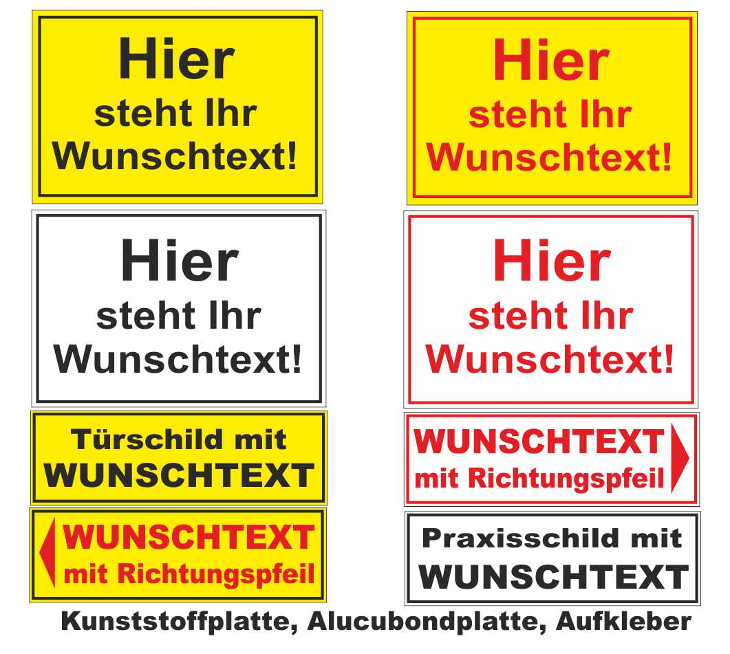 schild wunschtext kunststoff 8x20cm 4mm wahlw m pfeil. Black Bedroom Furniture Sets. Home Design Ideas