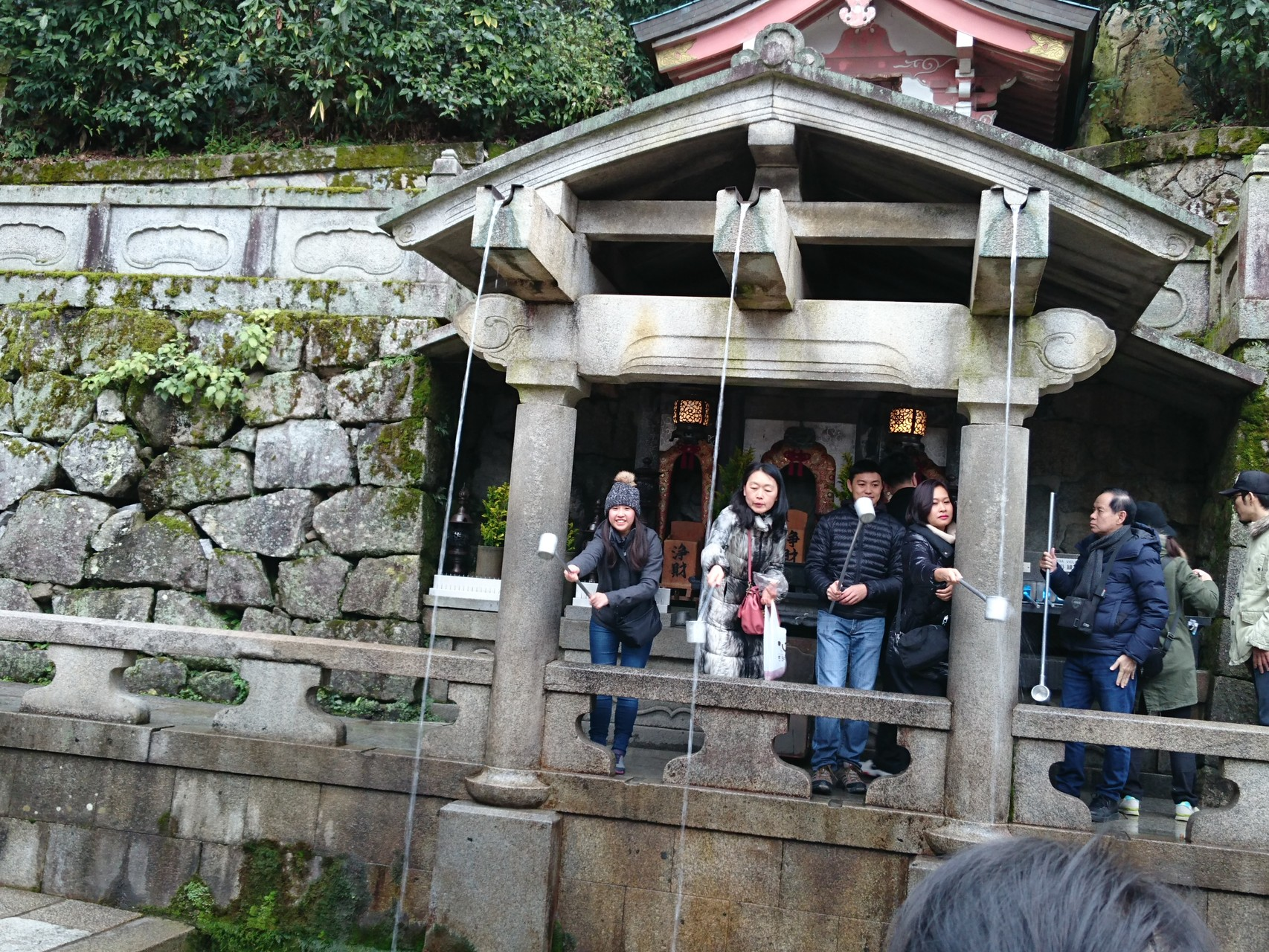 Otowa Waterfall, where visitors can drink the sacred Otowa Water from a ladle