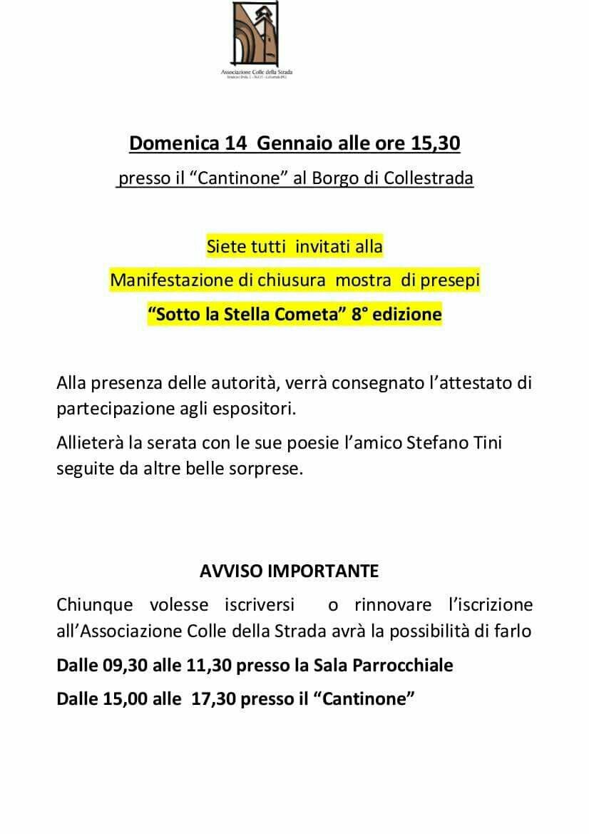 """Collestrada, manifestazione di chiusura dell'8° mostra dei presepi  """"sotto la stella cometa""""  Domenica 14 gennaio 2018 ore 15,30"""