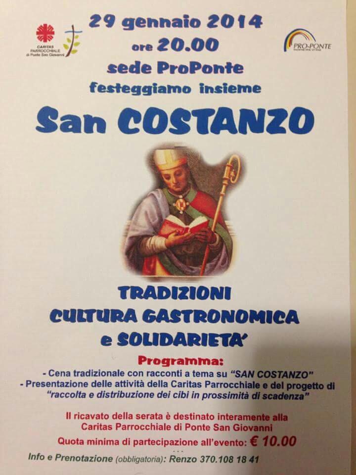 San Costanzo - cena di solidarietà, Ponte San Giovanni - Domenica 28 gennaio 2018
