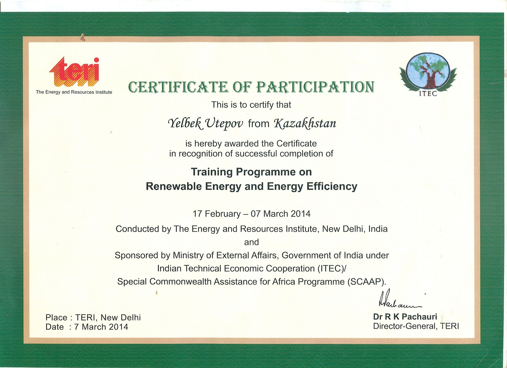 Certificates and awards yelbekutepov certificate of the training programme on renewable energy and energy efficiency new delhi india xflitez Gallery