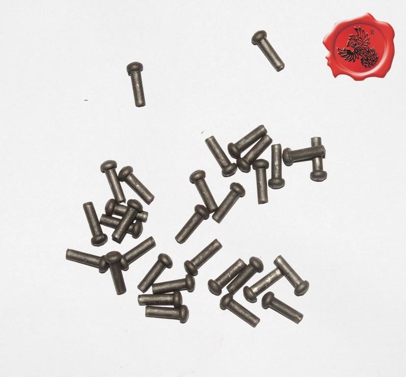 RIVETS ACIER Référence d'achat GDFB/RI/004 S -Tête/head: 6.25 mm - épaisseur/body:3,90 mm- Longueur/Length: 15,75 mm Paquet de 100/Packet of 100 pcs: 6,50 €