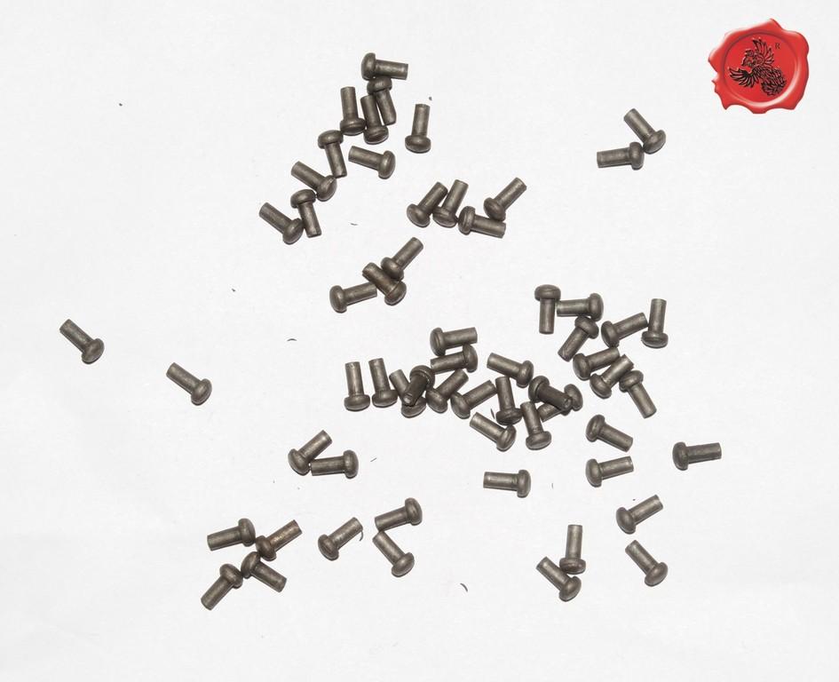 RIVETS ACIER Référence d'achat GDFB/RI/009 S-Tête/head: 5 mm - épaisseur/body: 3 mm- Longueur/Length: 9 mm Paquet de 100/Packet of 100 pcs: 4,50 €