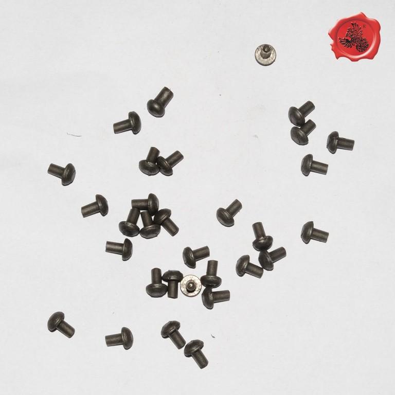 RIVETS ACIER Référence d'achat GDFB/RI/011 S-Tête/head: 7,75 mm - épaisseur/body: 3,8 mm- Longueur/Length: 9,5 mm Paquet de 100/Packet of 100 pcs: 6 € stock : 10 x 100 pièces