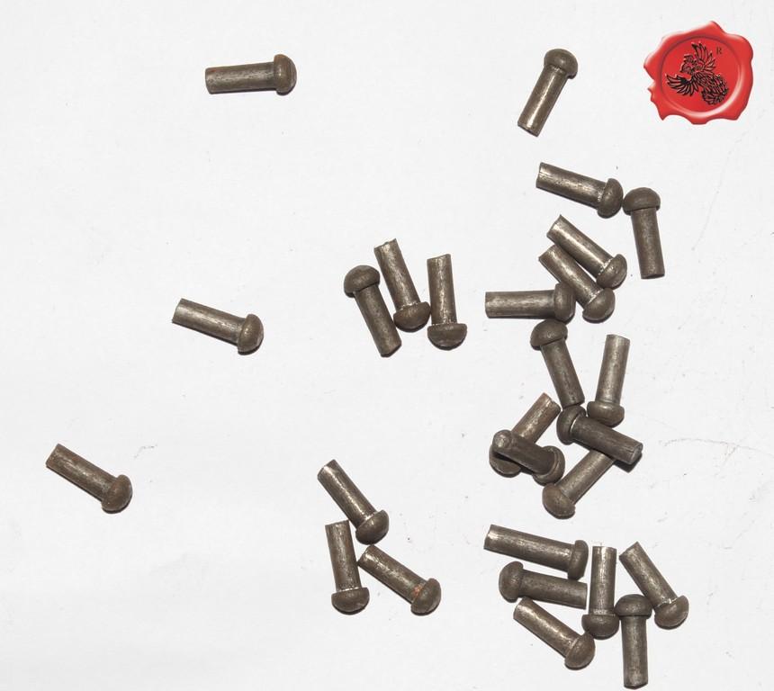 RIVETS ACIER Référence d'achat GDFB/RI/007 S -Tête/head: 7 mm - épaisseur/body: 4,25 mm- Longueur/Length: 17 mm Paquet de 100/Packet of 100 pcs: 7,50 €