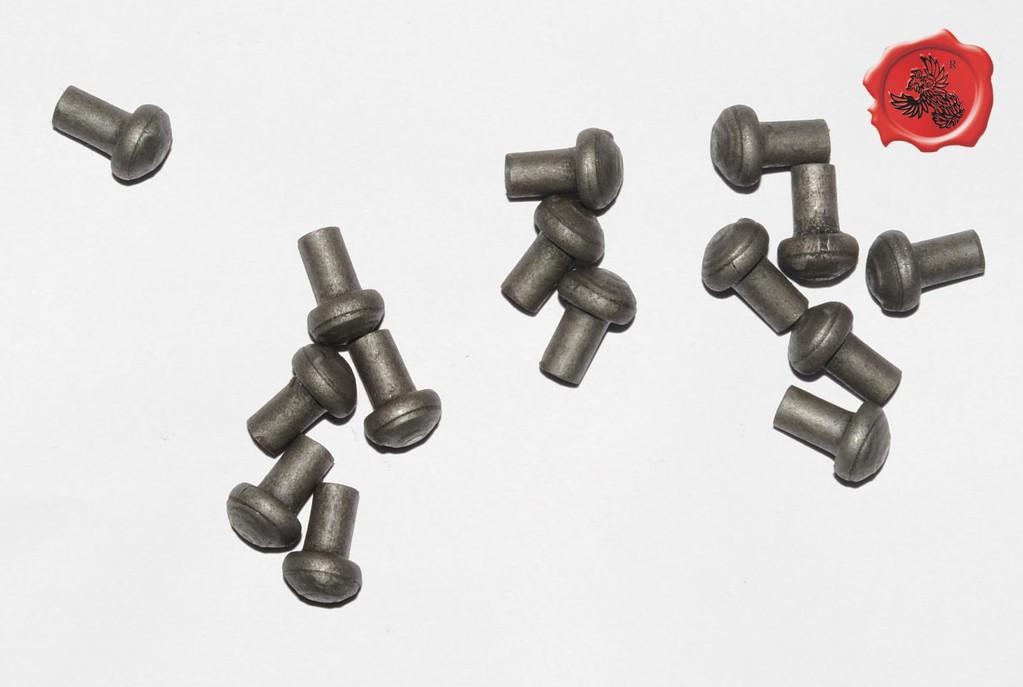 RIVETS ACIER Référence d'achat GDFB/RI/002 S -Tête/head: 10.5 mm - épaisseur/body: 6 mm- Longueur/Length: 15 mm - Paquet de 100/Packet of 100 pcs: 11,50 €