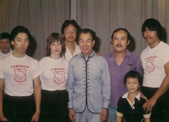 SIFU SHUM WITH HIS FRIEND SHEK KIM AND YING JOW PAI STUDENTS BENSON LEE, CYNTHIA ROTHROCK & DAVID CHIN