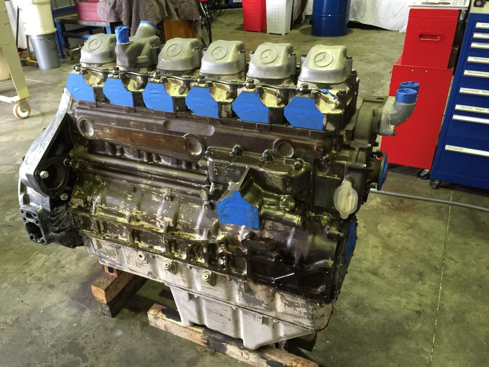 Engine block ready to paint