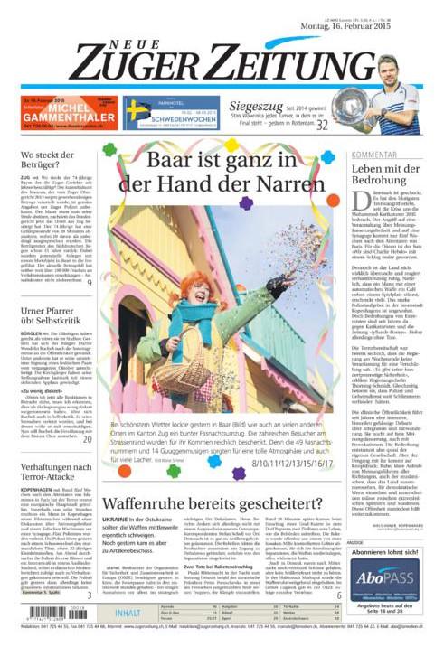 """Das Sujet """"Villa Kunterbunt"""" der Fasnacht 2015 schaffte es sogar auf die Titelseite der Zugerzeitung"""
