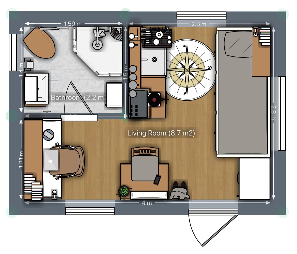 Mini Tiny House Grundriss mit großem Arbeitsplatz