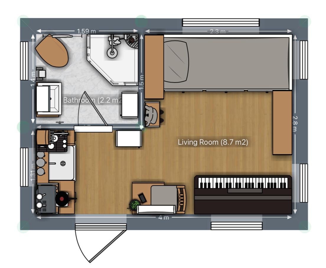 Mini Tiny House Grundriss mit Klavier