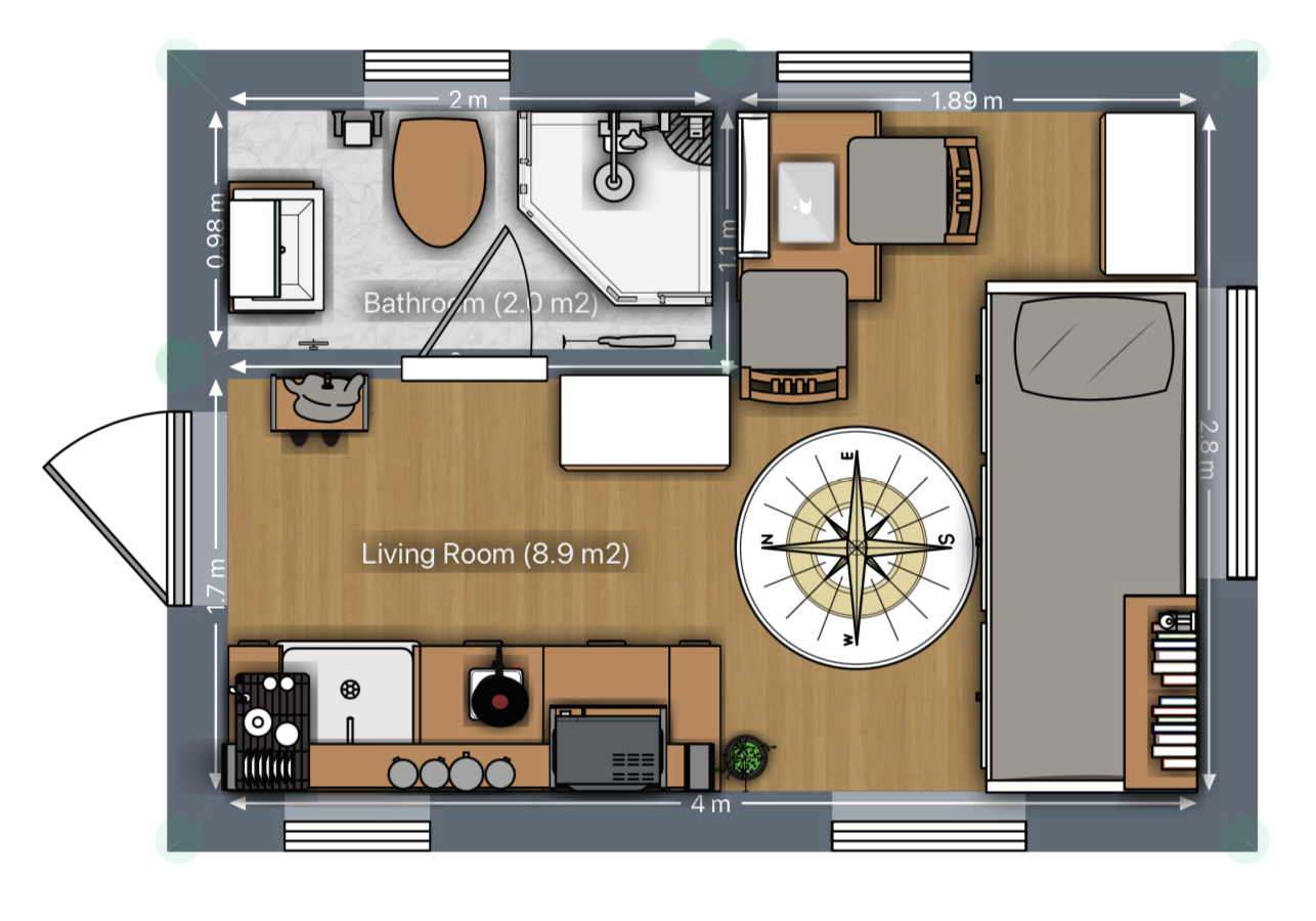 Mini Tiny House Grundriss mit großer Küche