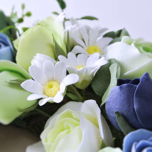 粘土のお花リースgreen3