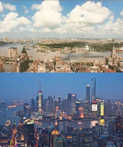 Vergleich - Shanghai 1990 und 2012