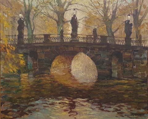 0550 Herbsstimmung an der Breiten Brücke in Potsdam III, Öl auf Leinwand, um 1927, 67 x 80 cm, r. u. sig., gerahmt