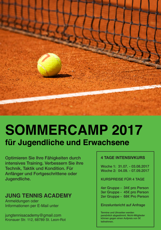 Tennis-Sommercamp 2017