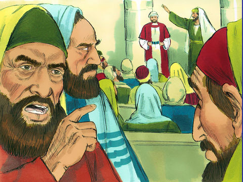 A Antioche, Paul et Barnabas s'adressent aux Juifs remplis de jalousie juste avant qu'ils ne les chassent de la ville.