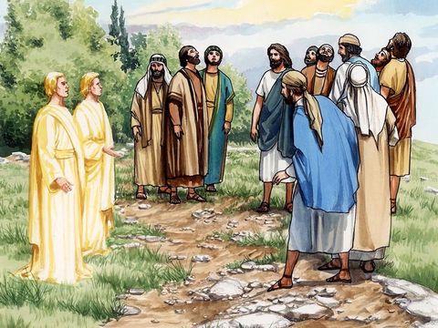 Au moment de l'ascension de Jésus, deux anges s'adressent aux apôtres : «Hommes de Galilée, pourquoi restez-vous à regarder le ciel? Ce Jésus qui a été enlevé au ciel du milieu de vous reviendra de la même manière que vous l'avez vu aller au ciel. »