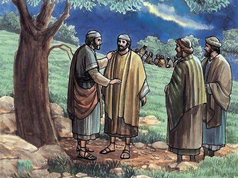Alors qu'il se trouve en compagnie de ses trois apôtres Pierre, Jean et Jacques au jardin de Gethsémané, Jésus leur demande de veiller car sa fin approche