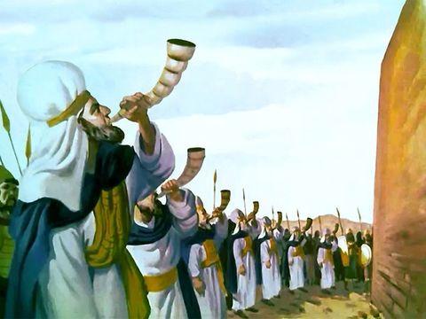 Les 7 prêtres soufflent dans les 7 trompettes le 7ème jour. Ils marchent devant l'arche de l'alliance, symbole du pouvoir de Yahvé le Tout-Puissant.