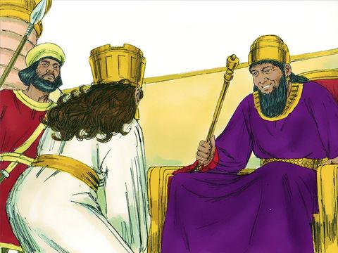 Esther met sa tenue royale et se tient devant les appartements du roi. Lorsque le roi la voit, il tend son sceptre en or. Esther s'approche et touche le bout du sceptre.