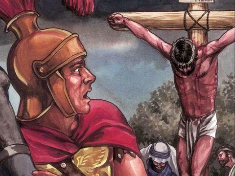 A la mort de Jésus se produit un tremblement de terre tellement impressionnant que les Romains qui gardent Jésus sont pris d'une grande frayeur et déclarent : «Cet homme était vraiment le Fils de Dieu.»