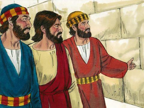 Comme Jésus s'en allait, au sortir du temple, ses disciples s'approchèrent pour lui en faire remarquer les constructions. Mais il leur dit : Voyez-vous tout cela ? Je vous le dis en vérité, il ne restera pas ici pierre sur pierre qui ne soit renversée.