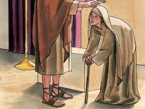 Une femme est habitée par un esprit mauvais qui la rend infirme depuis 18 ans. Elle est courbée et ne peut plus de tout se redresser. Jésus pose les mains sur elle et immédiatement elle se redresse en célébrant la gloire de Dieu.